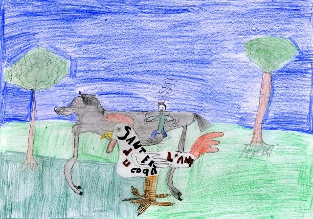 « Sauter du coq à l'âne » (crédit : un enfant)
